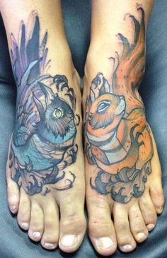 Crow and squirrel tattoo painted on foot