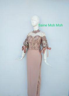 Traditional Dresses Designs, Designs For Dresses, Fashion Drawing Dresses, Fashion Dresses, Model Dress Kebaya, Myanmar Dress Design, Myanmar Traditional Dress, Sunday Dress, Embellished Dress