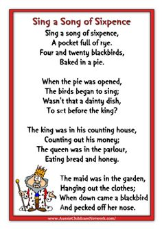 sing a song of sixpence nursery rhyme. Pinned by Marion Whitnell Nursery Rhymes Lyrics, Old Nursery Rhymes, Nursery Songs, Songs For Toddlers, Rhymes For Kids, Children Rhymes, Kindergarten Songs, Preschool Songs, Aussie Childcare Network
