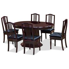 57in Rosewood French Dining Set W/6 Chairs