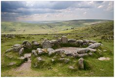 Ancient hut circles, Grimspound, Dartmoor, Devon.