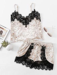 Loungewear by BORNTOWEAR. Eyelash Lace Trim Velvet Cami & Shorts Pajama Set