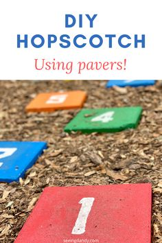 This DIY hopscotch game is so easy to create. It's made from patio pavers and a fun family activity yard game! Get outside and start playing today! Summer Activities For Kids, Family Activities, Diy For Kids, Easy Diy Crafts, Crafts To Do, Crafts For Kids, Fun Diy, Writing Prompts For Kids, Kids Writing