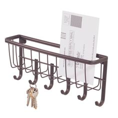 Interdesign Bronze Wall Mount Mail/Key Rack (58971) - Hooks - Ace Hardware