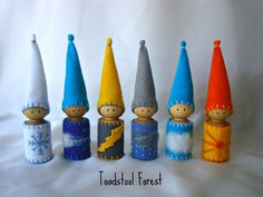 Expanded Waldorf  Weather Gnomes Set of 6~Snowy, Windy, Lightning, Stormy, Cloudy, Sunny~Weather Manipulative~Weather Teaching Tool~Peg Doll on Etsy, $54.07 AUD