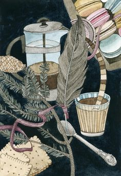 Still life with coffee, macarons, pine and feather by Yuliya