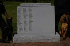 When David Booth heard about the death of Richmond Police K-9 Koda this past July, he wanted to do something to honor not only Koda, but the service of all police K-9s in the Richmond area.   So he contacted the Department and arranged for his company--Booth Memorial--to create a memorial stone complete with 85 names of all known deceased K-9s since 1957 for the Richmond, Henrico and Hanover training area.