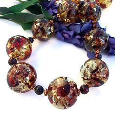Chunky Amber Handmade Necklace Pearls Unique OOAK Jewelry Glowing  | ShadowDogDesigns - Jewelry on ArtFire