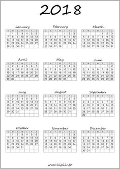 2018-Calendar-Printable-Free-014.jpg (1131×1600)