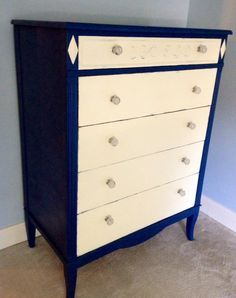annie sloan napoleonic blue and old white dresser - Google Search