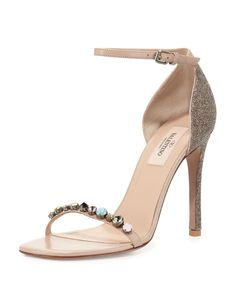 """Valentino calf leather and glitter sandal. 4.3"""" covered heel. Embellished thin toe strap. Adjustable ankle strap. Smooth outsole. Leather sole and lining. Made in Italy."""