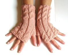 Light brown salmon  Fingerless gloves cozy gloves  by GlovesByJana, $20.00