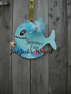 Nursery Door Hanger  Whale decor   Summer by JackJacksWayart