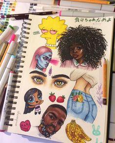Gsce art sketchbook photography 54 ideas for 2019 Black Girl Art, Black Art, Art Girl, Arte Dope, Dope Art, Arte Sketchbook, Sketchbook Pages, Cartoon Kunst, Cartoon Art