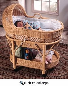 Deluxe Wicker Bassinet ......I found this at a local Goodwill store for $28. Online it ranges from 395-565. A great deal for me!!! :)