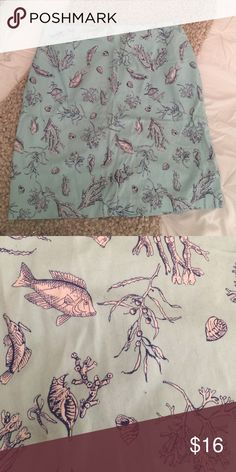 Talbots Sea Life Print skirt Size 12 pencil skirt by Talbots. Perfect for summer! Cute sea life print in light blue, navy blue and white. Zippers and a button in back.19 inches in length. Talbots Skirts Pencil