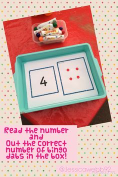 Read the number and put the correct number of bingo dabs in the box.