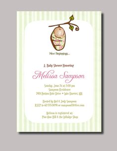 Personalized Silk Pod Baby Cocoon Shower by StudioGStationery, $15.00