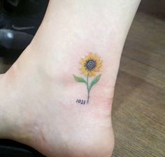 Sunflower Ankle Tattoo---Subtle, Delicate and Pretty!