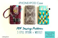 Simple iPhone 5 + 6 Case   Sew and Sell  A PDF Sewing Pattern by California Design Bum