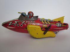 Space rocket tin toy