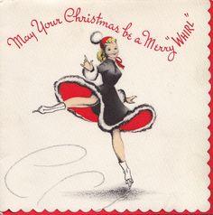 Vintage Greeting Card Christmas Girl 1940s People Ice Skater Skating I591