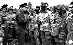 Dwight Eisenhower meets with Lieutenant Wallace C. Strobel and men of Company E, Parachute Infantry Regiment prior to their night jump into Normandy - WWII - June Operation Overlord, D-Day and Airborne Landings Dwight Eisenhower, Paratrooper, Luftwaffe, Bernard Montgomery, Carolina Herrera, D Day Invasion, Normandy Invasion, Normandy Beach, World History