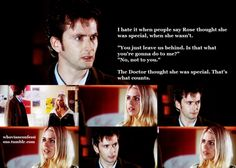 And Rose was special. Rose was the only one the Doctor really fell in love with. (at least of the recent ones. I couldn't tell you if he fell in love with companions from the 60's-80's shows or not)