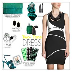 """""""Black & White: Two-Tone Dress"""" by atelier-briella ❤ liked on Polyvore featuring Marco de Vincenzo, Allegra London, Bling Jewelry, Allurez, Adoriana, Kendra Scott, Comme des Garçons, Edward Bess, cute and chic"""