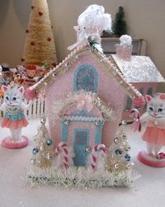 Custom Pink Aqua Blue Vintage Style Christmas Putz House For Sale On Ebay Bidding