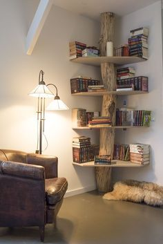 Make you're bedroom look like this inside of a treehouse. You could create your own little reading nook with cozy storage idea!