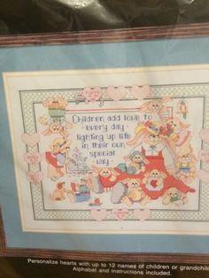 1990 Bucilla Counted Cross Stitch Children Add Love 40493 USA Mom Mother | eBay