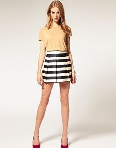 ASOS Stripe Full Woven Skirt - StyleSays