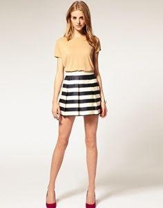 ASOS Stripe Full Woven Skirt - StyleSays