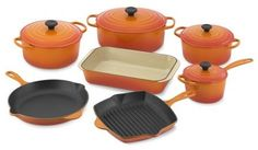 Le Creuset Signature 11-Piece Cookware Set, Flame - modern - cookware and bakeware - Williams-Sonoma
