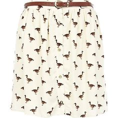 Cream duck print button up mini skirt