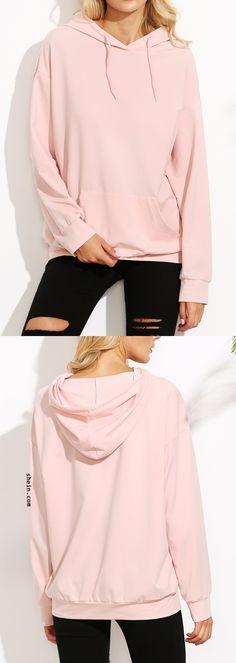 Pink drop shoulder hooded sweatshirt.