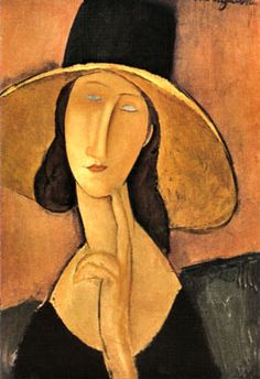 Jeanne Hébuterne wearing a straw hat by Amadeo @Modigliani