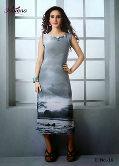 Beautifully Designed Digitally printed Grey Georgette Kurti. Modernized and trendy looking Party wear stuff.