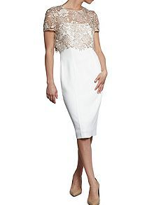 73da9fc0cf9f Buy Almond Gina Bacconi Crepe Dress with Bouquet Guipure Overtop from our  Women s Dresses range at John Lewis   Partners.