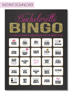 Bachelorette Party Game {INSTANT DOWNLOAD!} Printable Bachelorette Game Dare Sheet with Black, Pink & Gold Glitter
