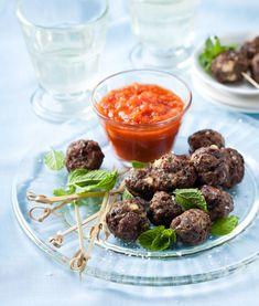 Recipe: Feta, lamb and olive meatballs with tomato sauce