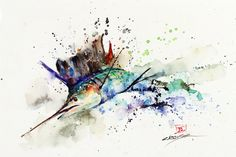 SAILFISH Watercolor Print by Dean Crouser от DeanCrouserArt