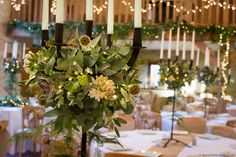 A sparkling 'Winter Wonderland' wedding design created by Bristol florists The Wilde Bunch at Kingscote Barn in The Cotswolds. Visit our website to see a dedicated Kingscote page of full size images & ideas. Barn Wedding Flowers, Budget Wedding Flowers, Wedding Reception Themes, Barn Wedding Venue, Wedding Colors, Budget Flowers, Kingscote Barn, Garden Venue, Flowers In Jars
