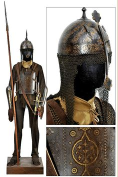 Indian armor, khula-khud (helmet), char-aina (chahar-aina, chahar a'ineh), literally the four mirrors, chest armor with four plates, dastanas/bazu band (vambrace/arm guards), zirah (mail shirt) and zirah pajama (mail trousers).