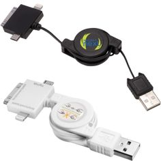 PL-1320 3-in-1 USB Retracting Adapter Cable. ABS plastic retracting cable with standard USB connected to three adapter plugs. Includes micro USB plug for charging a variety of products, iPhone® 4/iPad® 3 plug and iPhone® 5/iPad® 4 plug (not compatible with iPhone® 5C or iPhone® 5S). Auto-retracting cord.