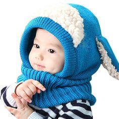 Warm Baby Hat+Hooded Knitted Scarf Set Earflap Caps d78f382d8de7