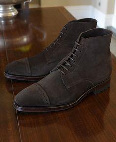 Carmina captoe boots in dark brown suede