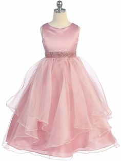 Rose Simple Satin and Organza Layered Flower Girl Dress - Toddler & Girls (2-12)