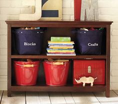 Cameron 2-Shelf Bookcase #PotteryBarnKids... cute... just what I need. Could easily make the chalkboard tags
